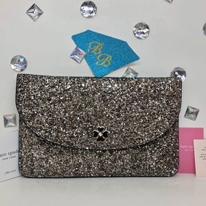KATE SPADE♠️ODETTE GLITTER LARGE FLAP POUCH GOLD